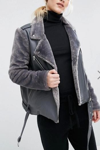 J.O.A Biker Jacket With Faux Fur Panels