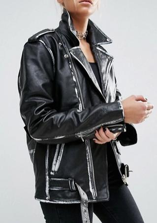 Milk It Vintage Oversized Leather Biker Jacket With Painted Seam