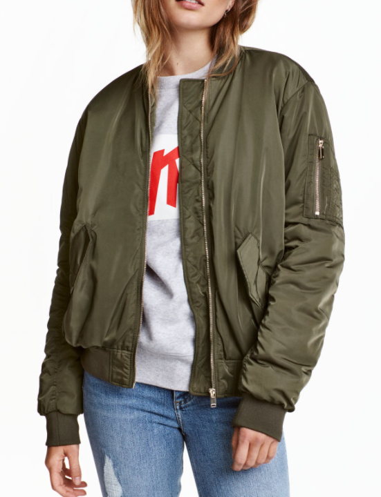 HM khaki bomber jacket