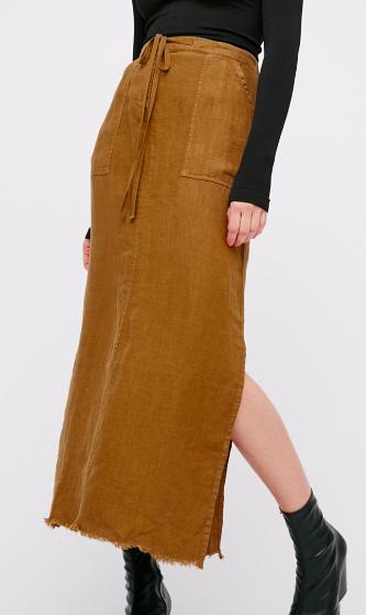 City Streets Linen Maxi Skirt