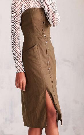 Cooperative Tiffany Button-Down Strapless Midi Dress