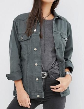 ASOS Denim Girlfriend Jacket in Washed Khaki