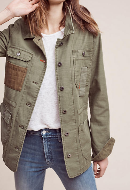 Anthropologie Patched Utility Jacket