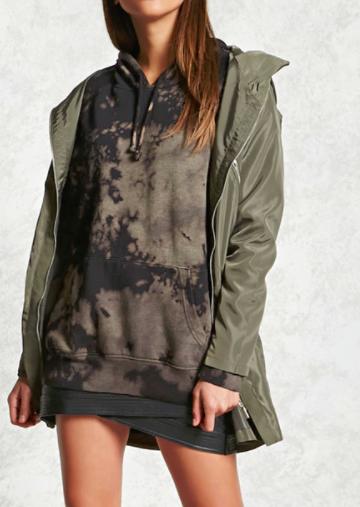 Forever 21 Longline Hooded Jacket