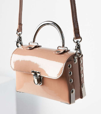 Vegan Patent Leather Studded Crossbody Bag