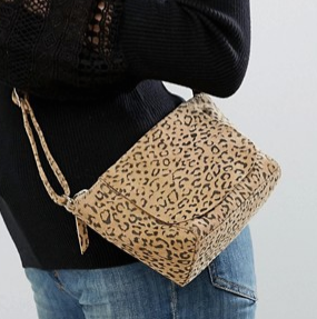 ASOS Suede Curved Leopard Cross Body Bag