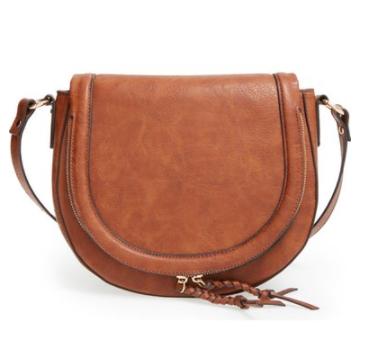 Phase 3 Whipstitch Faux Leather Saddle Bag