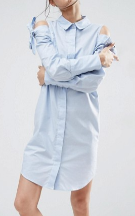 ASOS Shirt Dress with Oversized Cuff & Embroidery Detail