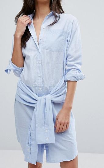 Warehouse Tie Waist Mixed Fabric Shirt Dress