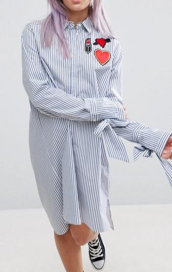 ASOS Stripe Shirt Dress with Oversized Cuff & Badges