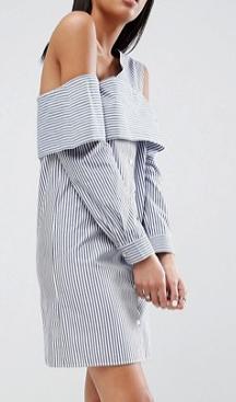 ASOS Off Shoulder Deconstructed Stripe Shirt Dress