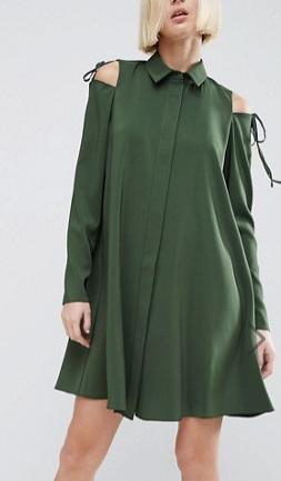 ASOS Cold Shoulder Shirt Dress with Tie Detail