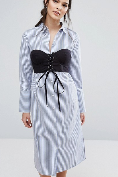 Neon Rose Shirt Dress With Corstet Overlay In Stripe