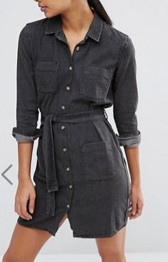 ASOS Denim Belted Shirt Dress in Washed Black