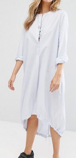 Mango Fine Pinstripe Oversized Midi Shirt Dress