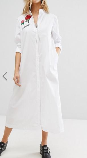 Mango Embroidered Midi Shirt Dress