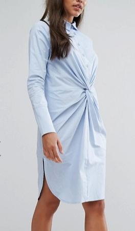 Lavish Alice Cotton Twist Front Shirt Dress