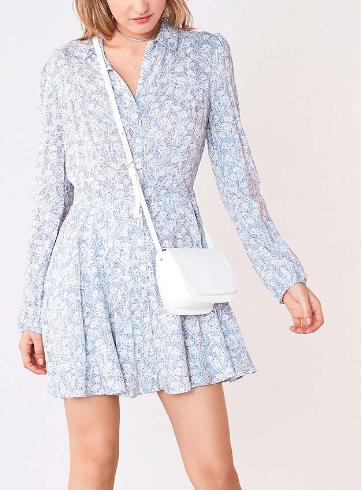 Kimchi Blue Sabrina Floral Long-Sleeve Mini Shirt Dress