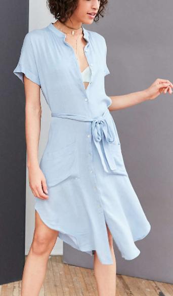 Ecote Gauze Band Collar Shirt Dress
