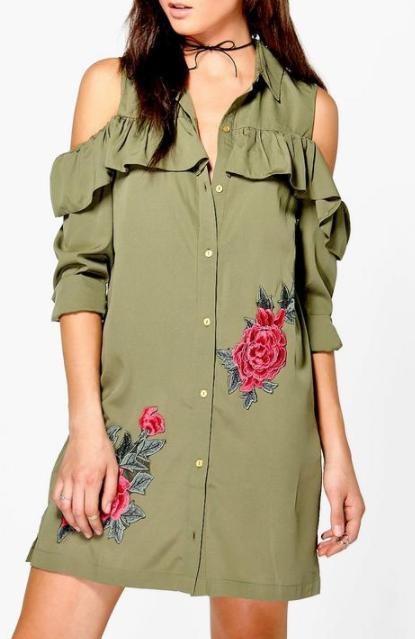 Boohoo Jen Cold Shoulder Embroidered Shirt Dress