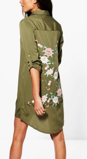 xBoutique Zhi Embroidered Back Shirt Dress