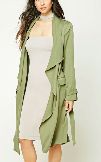 Forever 21 Draped Self-Tie Trench Coat