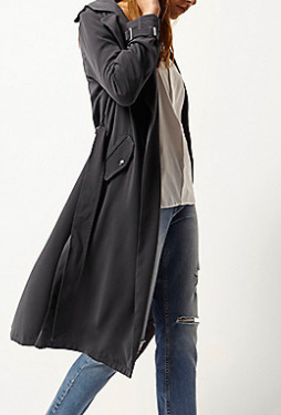 RIVER ISLAND Charcoal grey tie waist duster trench coat