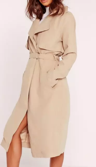 MISSGUIDED soft touch belted trench coat nude