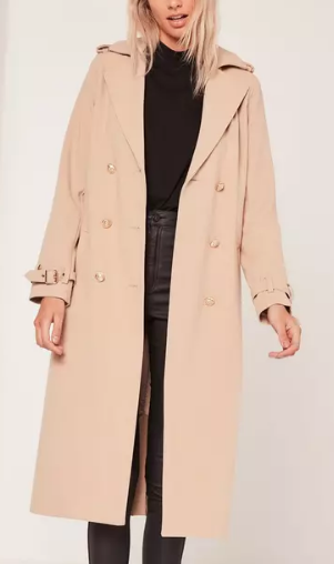 MISSGUIDED military faux wool trench coat