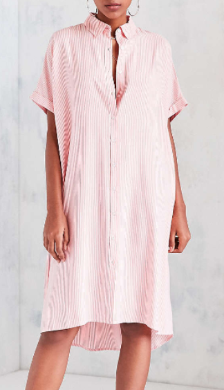 Silence + Noise Button-Down Cocoon Shirt Midi Dress