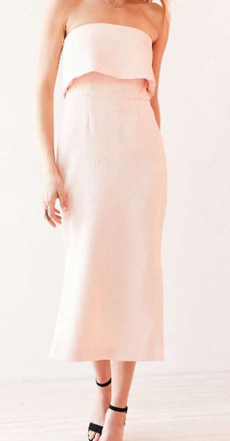C/meo Collective Love Strapless Ruffle Midi Dress