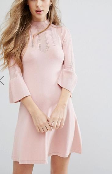 Miss Selfridge Pointelle Fluted Sleeve Dress