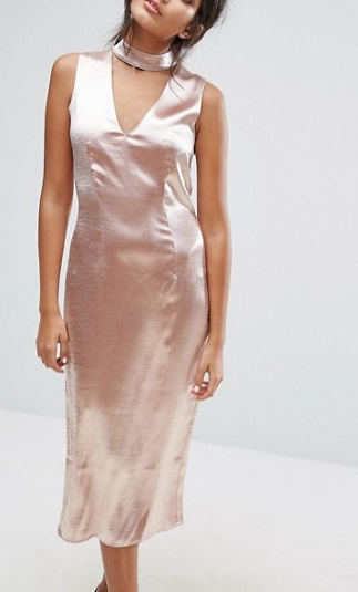 J.O.A Midi Dress With Plunge Front And Choker Neck Detail