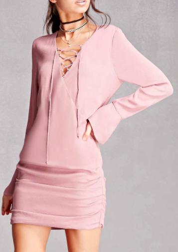 Line & Dot Lace-Up Mini Dress