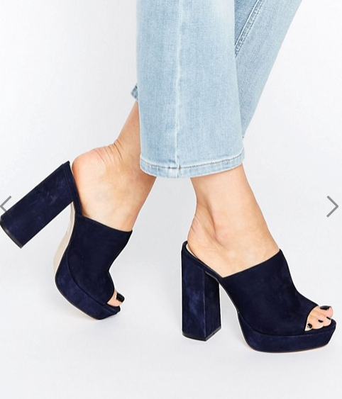 Office Syrup Navy Suede Platform Heeled Mules