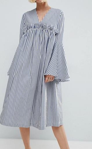 ASOS WHITE Ruffle Yoke Bell Sleeve Dress