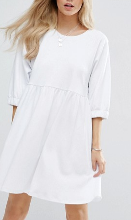 ASOS PETITE Cotton Smock Dress with Elastic Cuff Detail