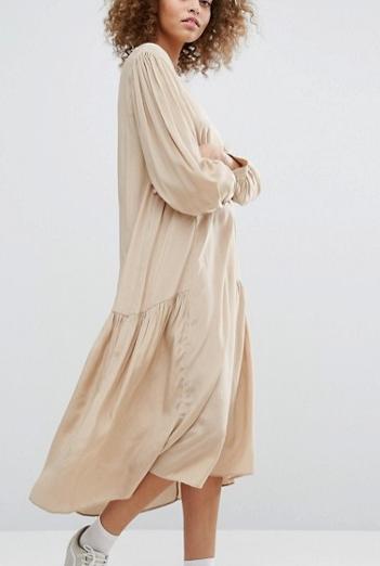 STYLENANDA Drop Waist Smock Dress In Shine Fabric