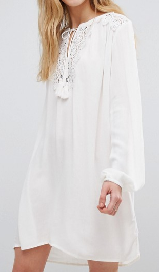 b.Young Long Sleeve Tunic Dress With Lace Insert