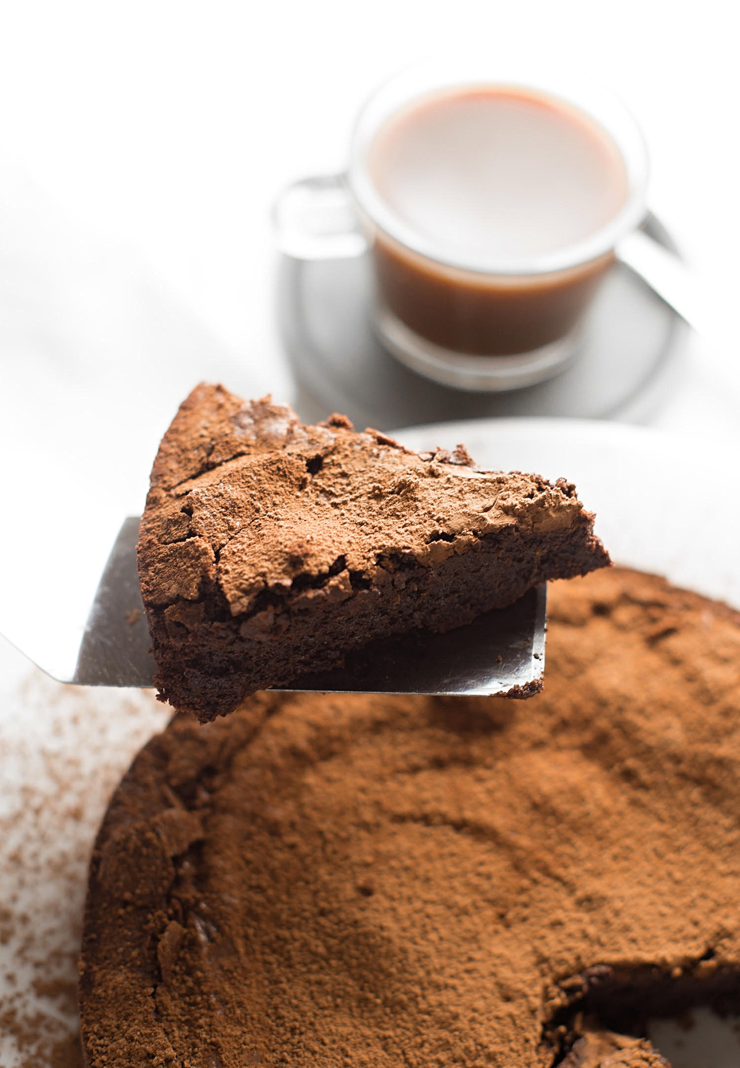 Flourless Chocolate Cake: rich, fudgy, intense chocolate cake made in one bowl and ten minutes. Perfect for Passover! | TrufflesandTrends.com