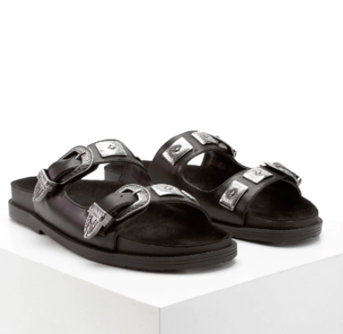 Forever 21 Faux Leather Buckled Slides