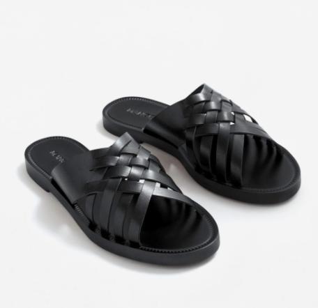 Mango Leather braided sandal