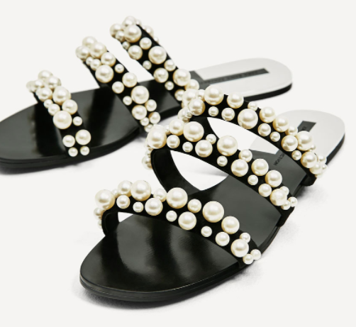 Zara pearl slides