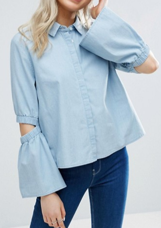 ASOS Denim Shirt with Flared Sleeve and Cold Elbow