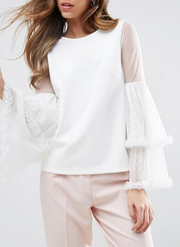 ASOS Top in Ponte With Mesh Ruffle Sleeves