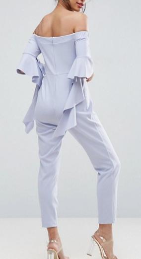 ASOS Bardot Jumpsuit with Ruffle Sleeve Detail