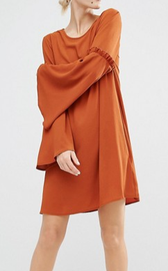 Lost Ink Lost Ink Swing Dress With Bell Sleeves & Ruffles