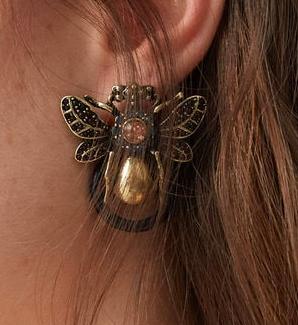 Mango Bug crystal earring