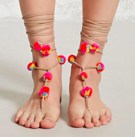 Forever 21 Self-Tie Pom Pom Anklet Set