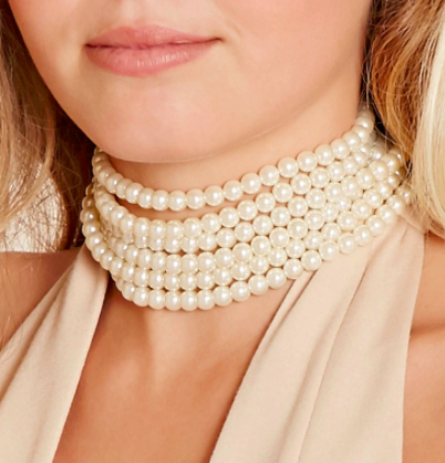 Forever 21 Faux Pearl Layered Choker